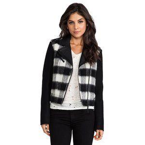 Mackage Shanty Buffalo Check Leather & Wool Jacket